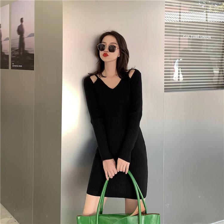 針織連衣裙 修身顯瘦 小心機性感 氣質 連衣裙 包臀裙 長袖洋裝 韓版潮流新款 內搭外穿 打底裙