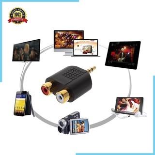 【最優惠的價格】鍍金 3.5mm 立體聲插頭至 2rca (紅色 + 白色) 母連接器適配器