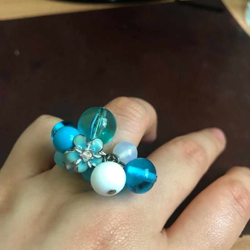 安娜蘇 Anna sui 藍色泡泡玻璃華麗 戒指 含運費 可調戒圍