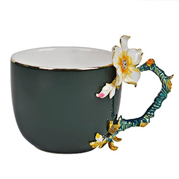 5Cgo琺琅彩水杯茶杯子創意小清新咖啡杯碟情侶杯送禮禮物定制多款顔色雕刻貼花北歐宮廷風帶手柄 572662953534