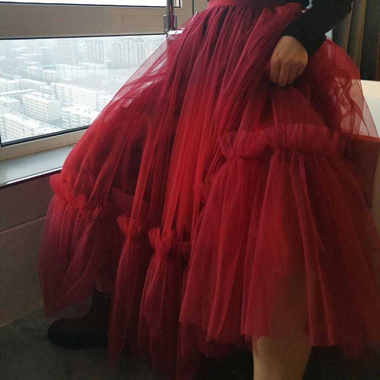 【現貨】❇✔❀超仙網紗半身裙酒紅色高腰紗裙女2020冬款氣質三層網紗拼接蓬蓬裙 潮款仙氣半裙爆款