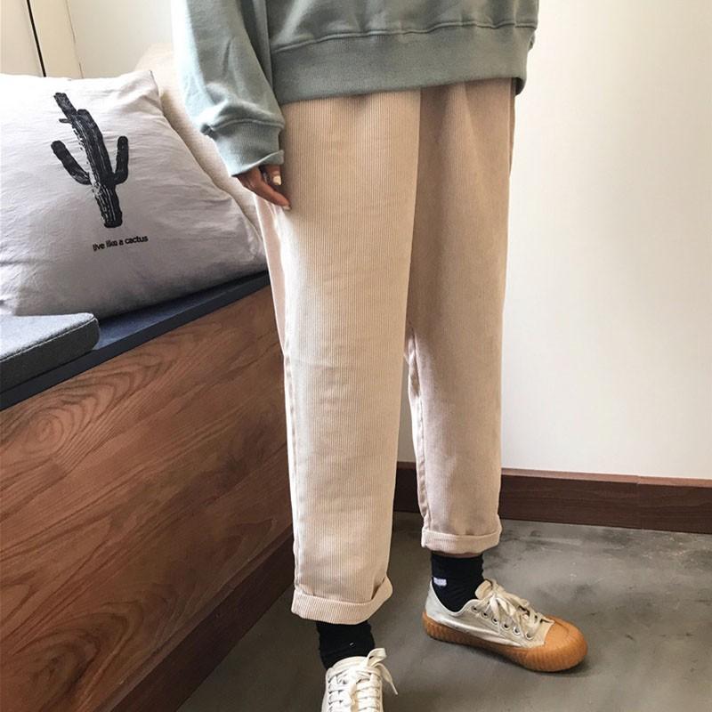 HA 【現貨】實拍韓版素色百搭寬鬆休閒直筒長褲男女情侶款燈芯絨闊腿褲