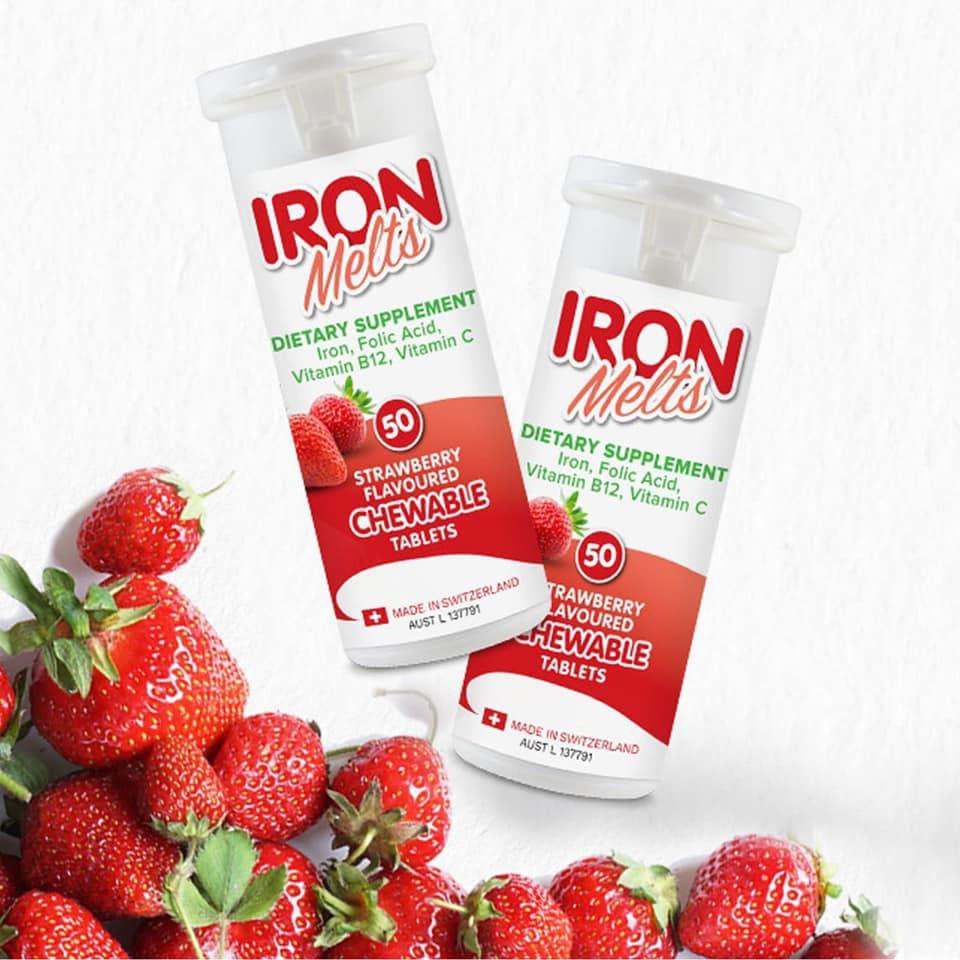 澳洲代購 台灣備貨 Iron Melts 補鐵 咀嚼片 草莓口味 50片 鐵 維他命C 維他命 B12 葉酸