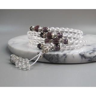 【古玩波波】特價出清 白水晶配紫水晶多圈手鏈項鏈108顆念珠6mm--704448 臺中市