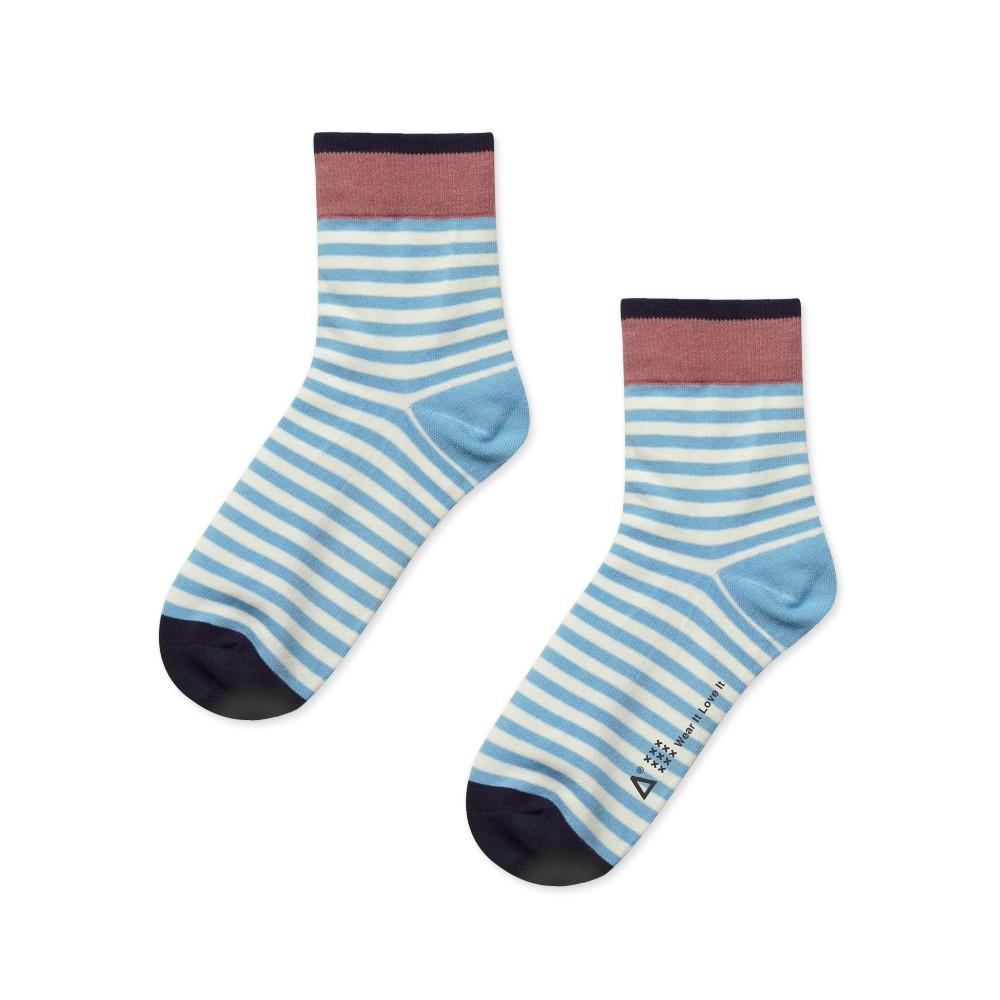 WARX 《薄襪》復古條紋 中筒襪 (藍白)