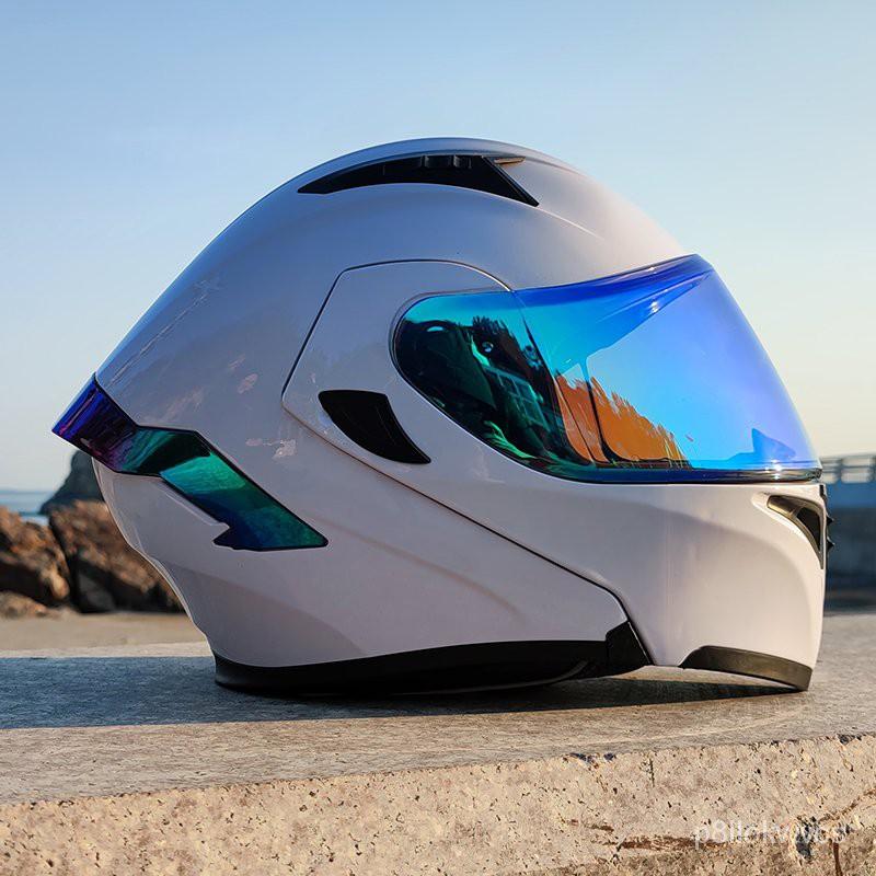 Orz電動摩托車頭盔男女揭面盔雙鏡尾翼半盔安全帽個性機車灰四季
