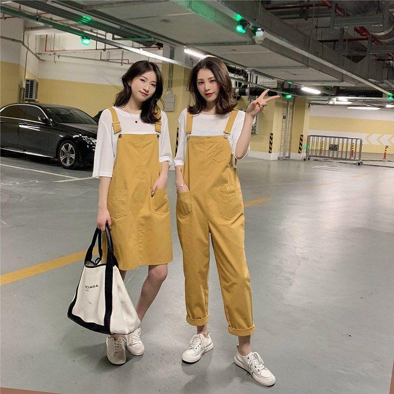 現貨 閨蜜裝2021夏季 背帶褲女 學生韓版寬鬆大碼背帶裙