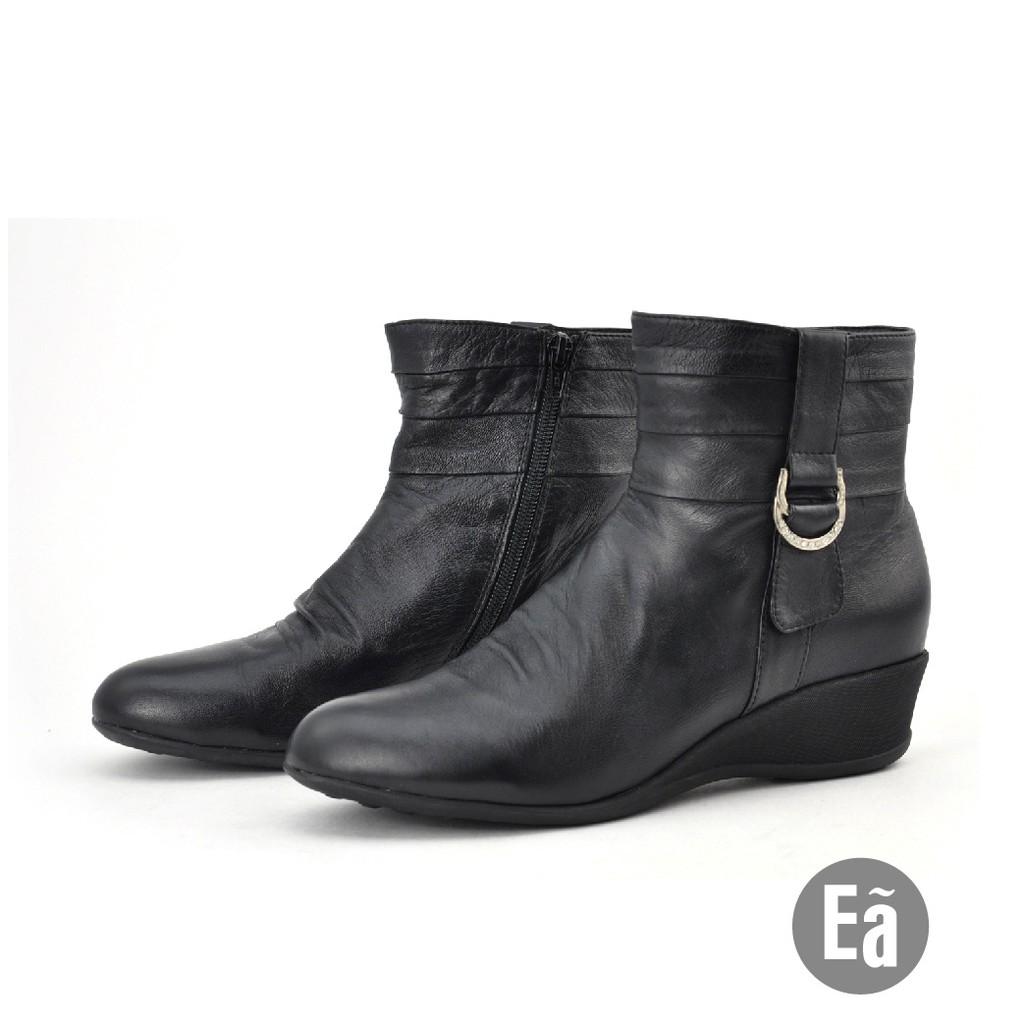 Ea專櫃女鞋 真皮水鑽飾釦抓皺楔型短靴(黑色39號)