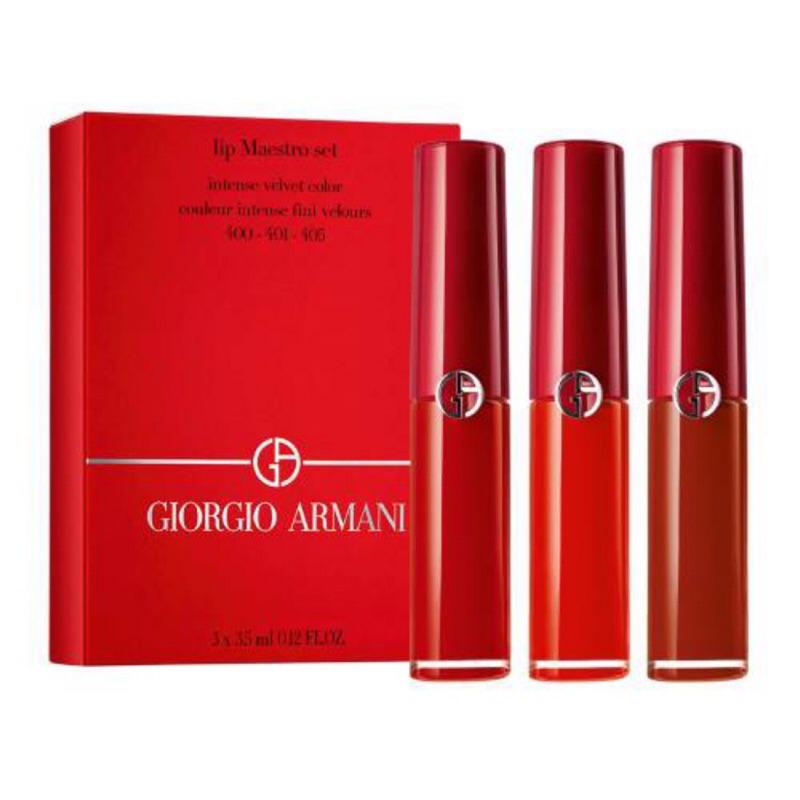 專櫃現貨附提袋Giorgio Armani 限量 奢華絲絨訂製唇萃 精巧珍藏組 迷你唇萃 3.5ml*3迷你紅管