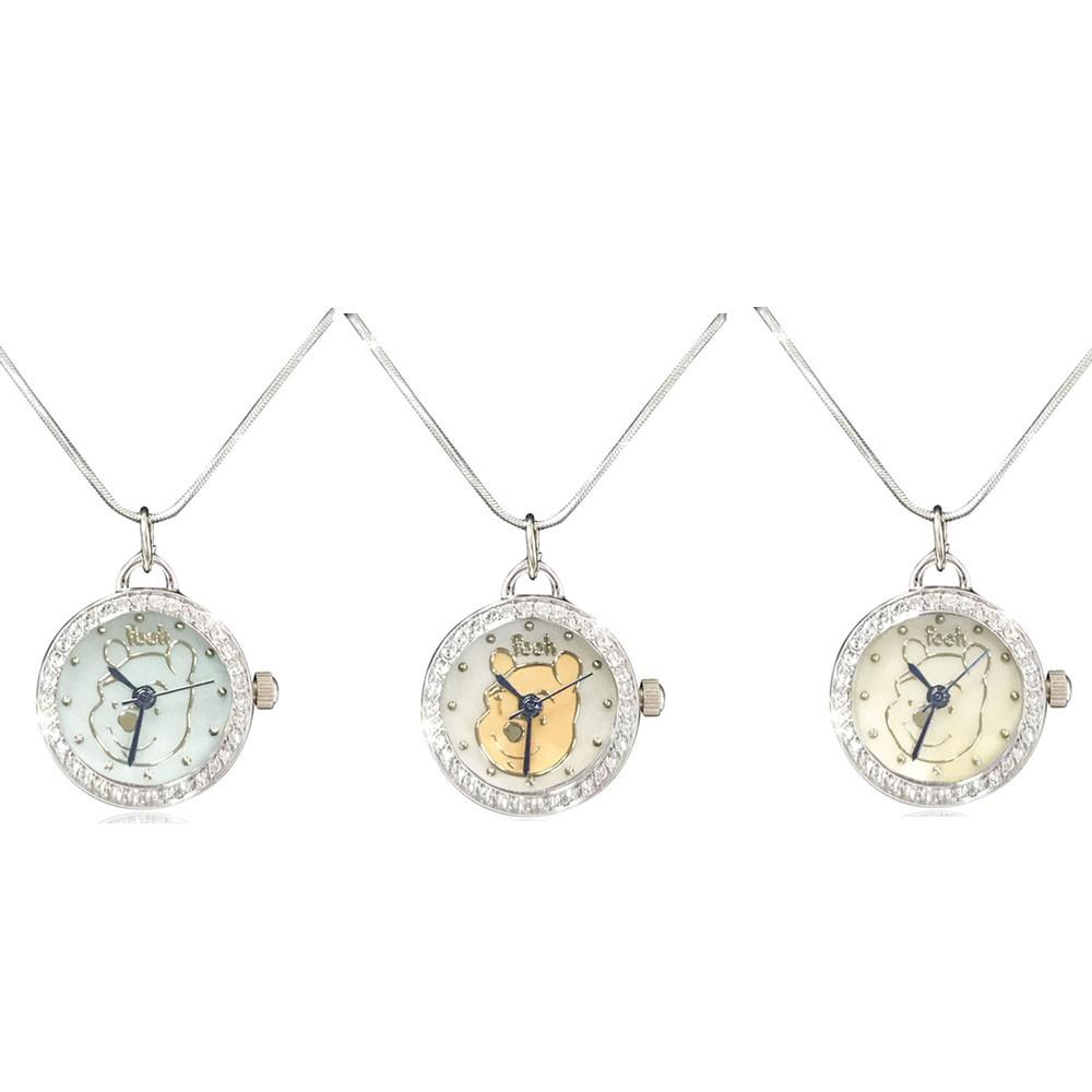 限量出清價【迪士尼】小熊維尼氣質項鍊錶(白.黃.藍) 墜鍊 正版授權 送禮自用 Winnie