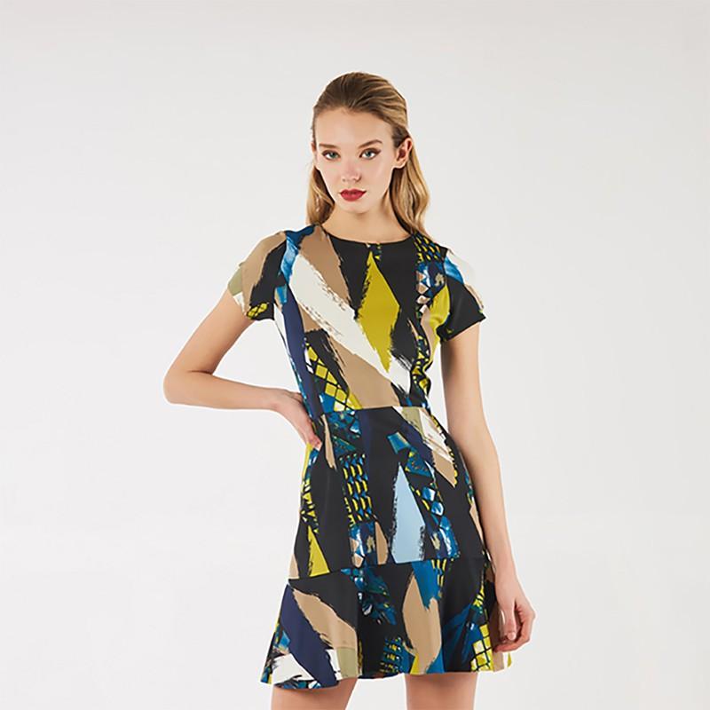 時尚印花收腰修身洋裝