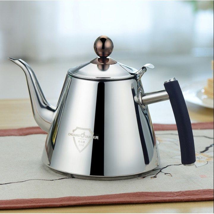 #茶煮壺 創典食品級304不銹鋼水壺電磁爐茶具電陶爐燒水煮水壺加厚平底壺