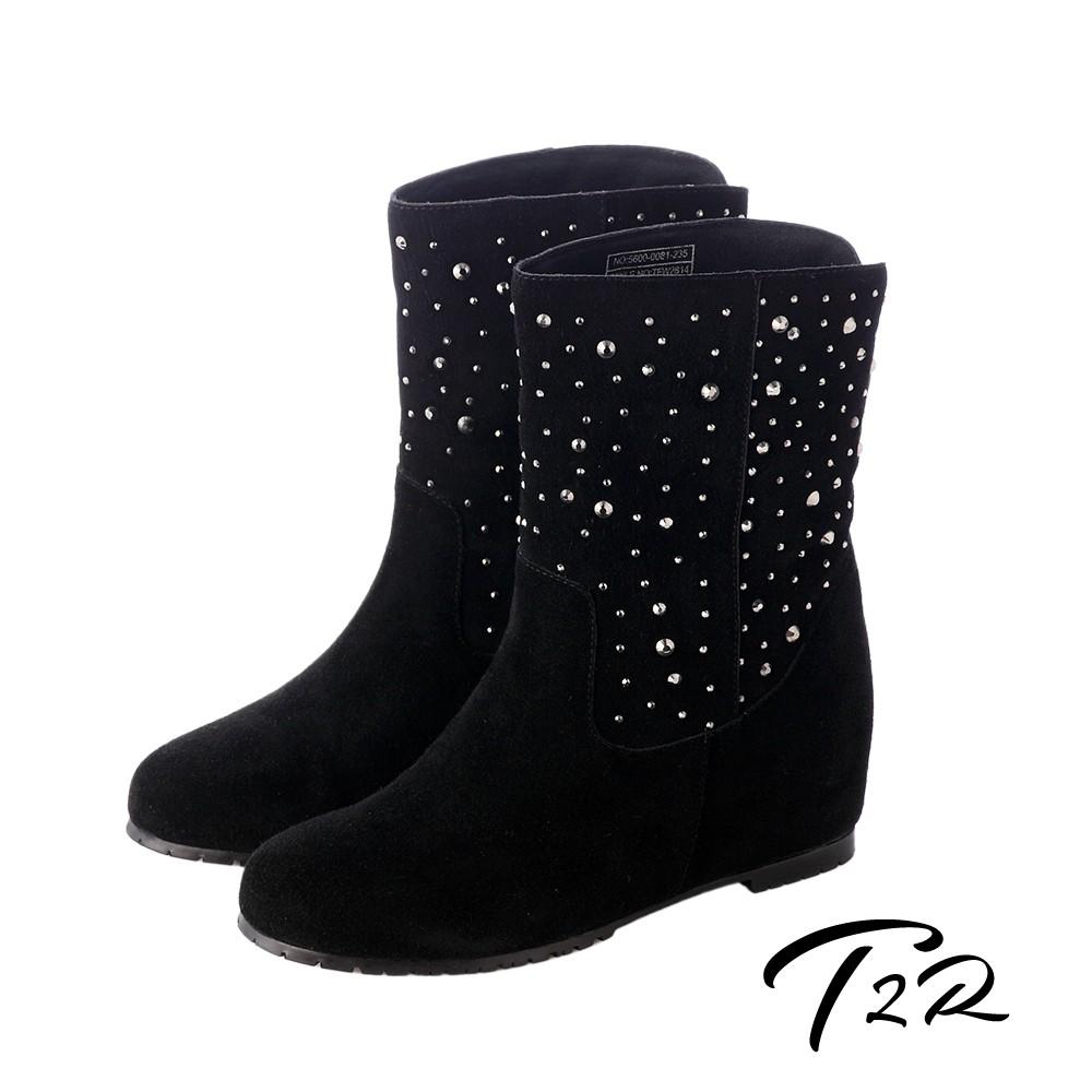 T2R-奢華水鑽真皮內增高短靴-增高7cm- 經典黑-5600-0081