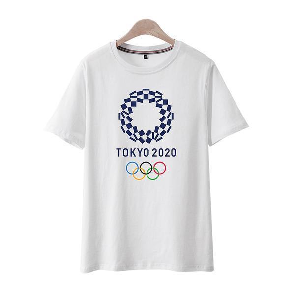 2020 年東京奧運短袖 T 卹男吉祥物定制 Diy 文字情侶半袖襯衫創意夏季潮奧運紀念 T 卹