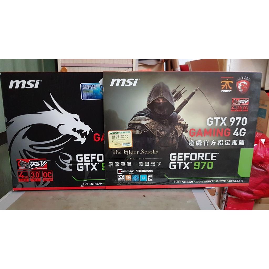 二手 GTX970 GAMING 4G 微星 MSI 紅龍卡 4GB DDR5 PCI-E 顯示卡 卡況優良 完整盒裝