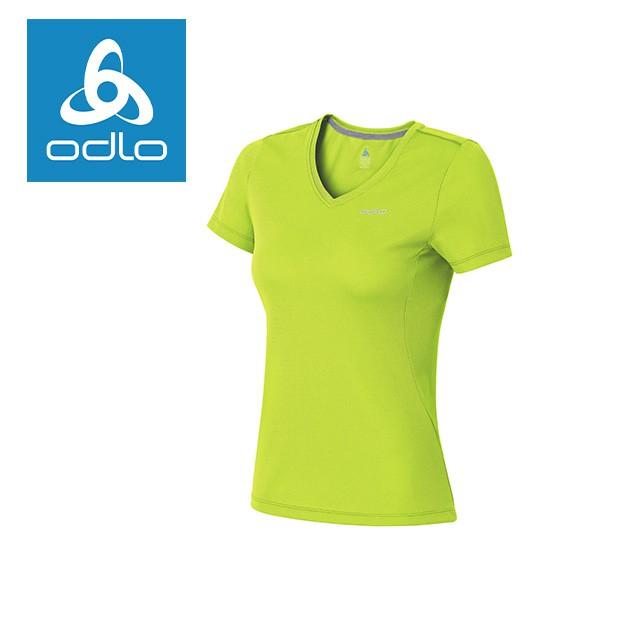 【瑞士ODLO】女套頭衣短V領銀離子抗UV 221811 (43800-萊姆綠)