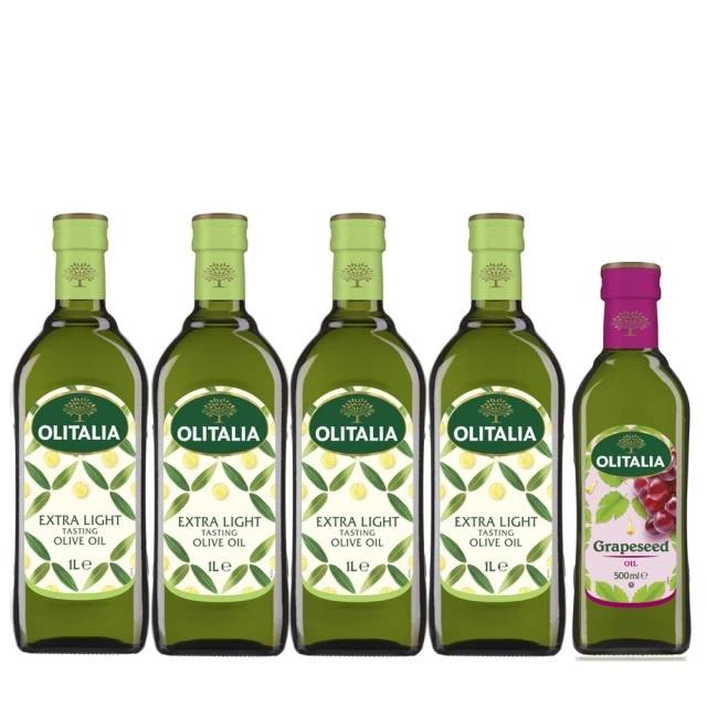 5罐組 Olitalia 奧利塔 精緻橄欖油 1000mlx4 瓶禮盒組(+葡萄籽油500mlx1瓶)