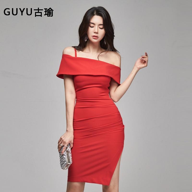 裸肩一字領紅色開叉中長禮服洋裝顯身材尺碼酒會連衣裙