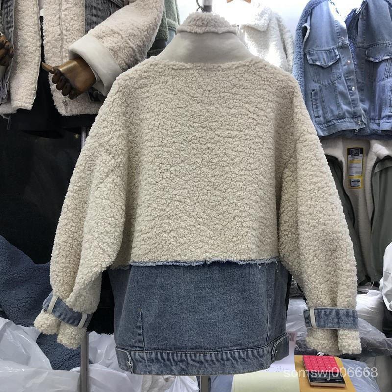 紅潮秋冬女裝網拼接加厚新款翻領2020時尚羊羔絨牛仔洋氣復古外套