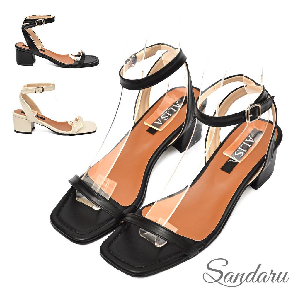 涼鞋 氣質簡約方頭一字帶粗跟涼鞋