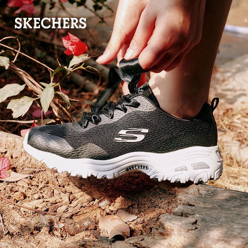Skechers斯凱奇女鞋春夏透氣休閒熊貓鞋健步運動老爹鞋蝴蝶結綁帶