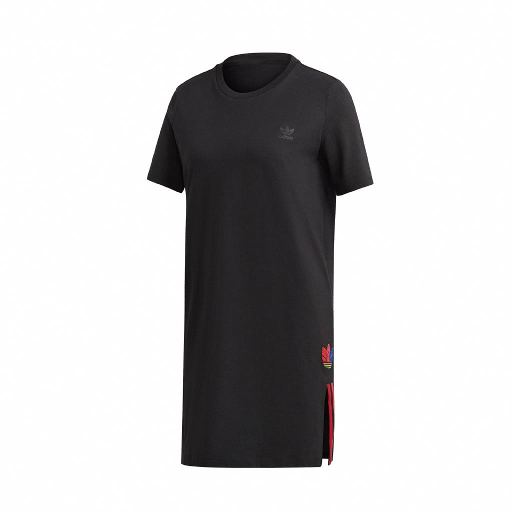 adidas 洋裝 Adicolor Tee Dress 黑 彩色 女款 短T 長版 運動休閒 【ACS】 GD2233