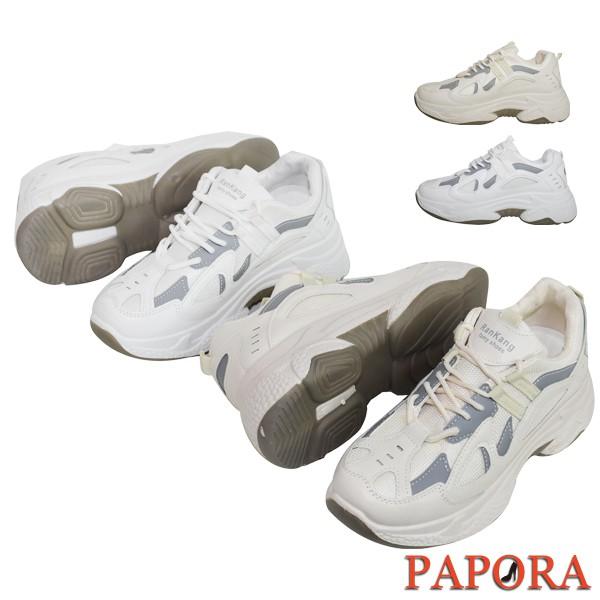 PAPORA休閒鞋 增高厚底基本款厚底鞋 百搭時尚透氣網布老爹鞋