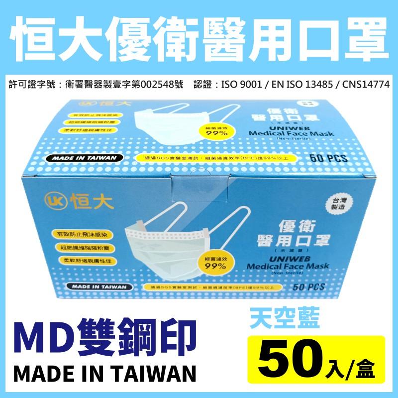 現貨【台灣製造雙鋼印】恒大優衛醫用口罩-天空藍(50入/盒)-成人用《成人口罩、平面口罩、醫療口罩、藍色口罩》