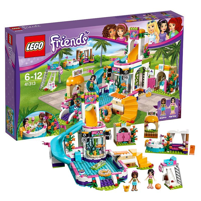 LEGO樂高好朋友心湖城夏季游泳池41313小顆粒女孩子拼裝積木玩具 zCOd