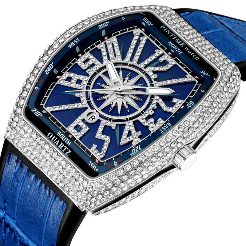 PINTIME/品時  PT8122  外貿手錶男士法蘭克酒桶錶 大錶盤腕錶 滿天星皮帶遊艇鑲鑽復古腕錶 kw4p