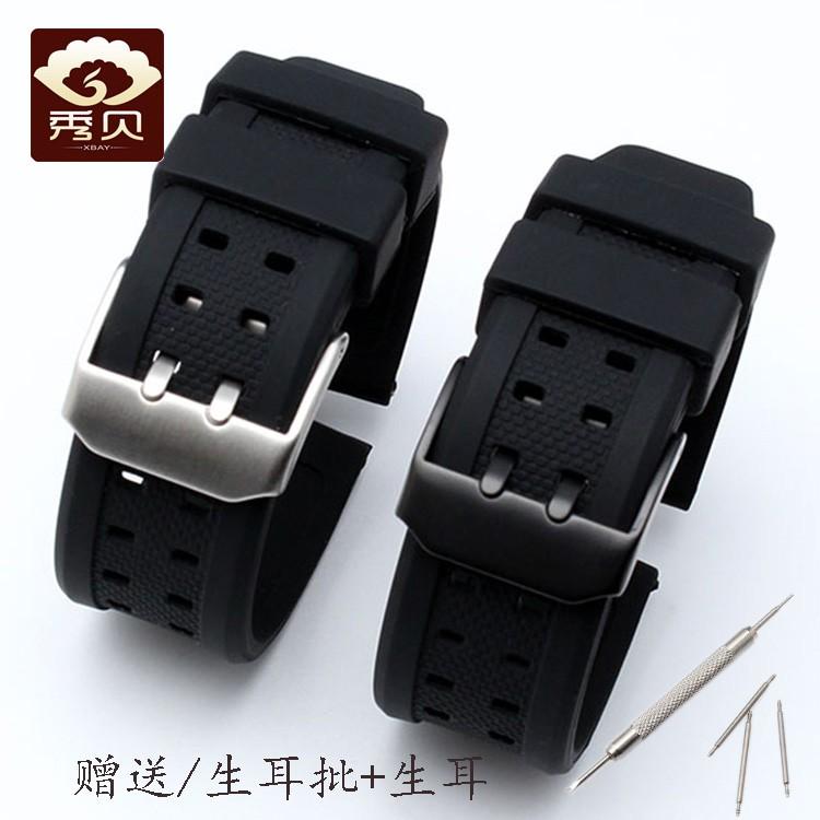BREITLING SEIKO 矽橡膠錶帶黑色適合佈雷特林精工公民漢密爾頓卡西歐 20 22