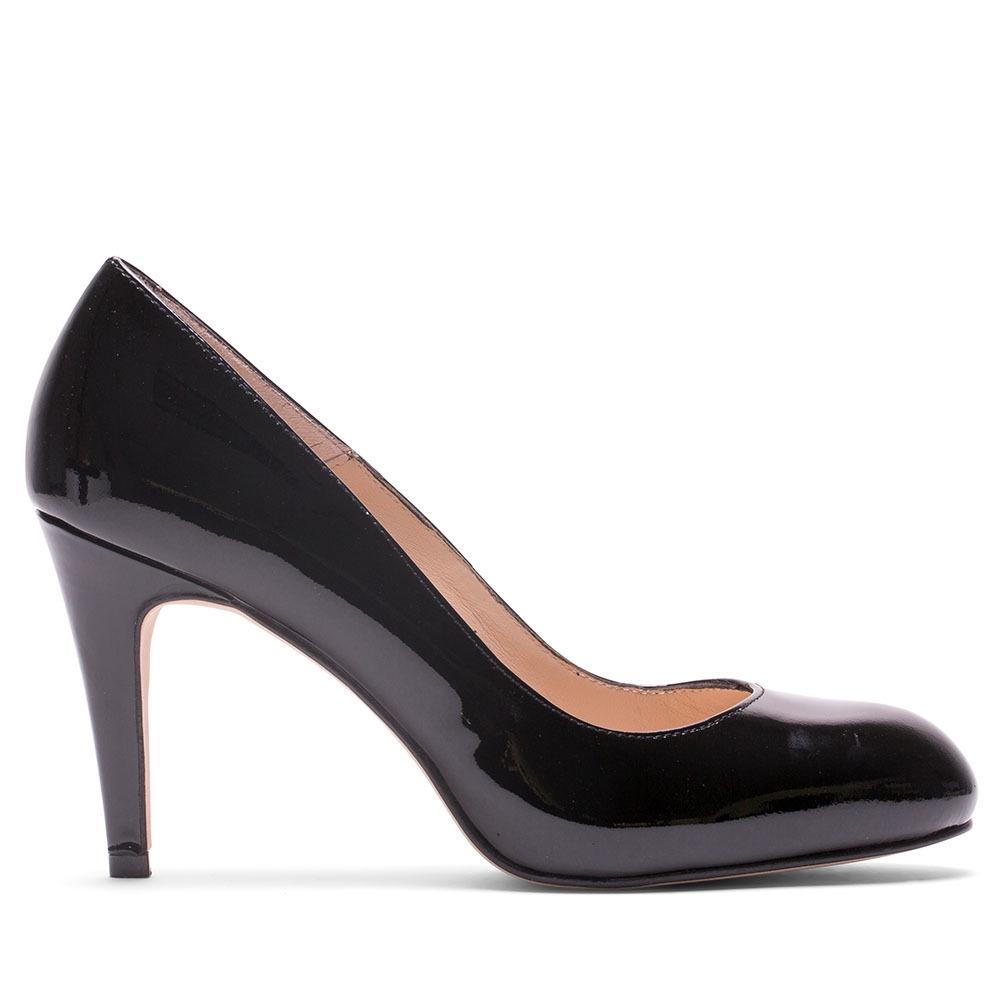 ELODIE 漆皮圓頭高跟鞋-黑