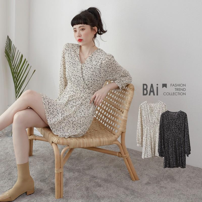 BAI e-shop 碎花剪影腰綁帶交叉V領洋裝-【310136】