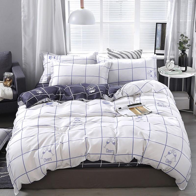【現貨】床包四件組 雙人/加大雙人床包四件組 單人床包組 被罩被單組床單組薄被套枕頭套枕套被單4件組 白色灰色格子簡單愛