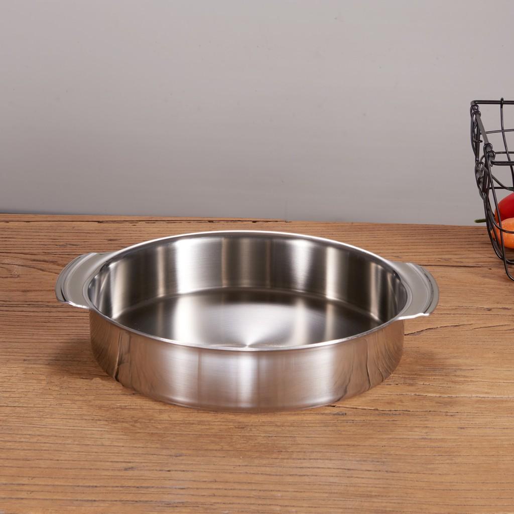 一體成型304不銹鋼烤盆烘焙烤箱收納托盤燒烤果盤可明火電磁爐