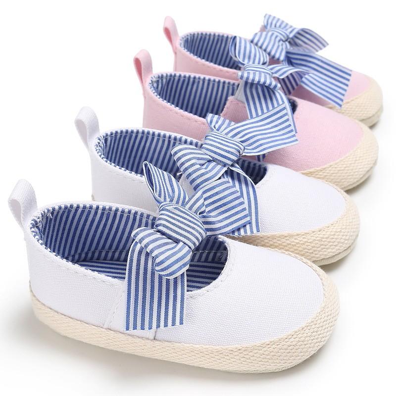 母嬰 新款童鞋嬰幼童寶寶鞋秋0-1歲女寶寶條紋公主鞋軟底防滑蝴蝶結嬰兒學步鞋 嬰兒鞋