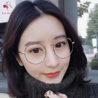 LIFECYCLE女士復古原宿圓形鏡框透明鏡片眼鏡