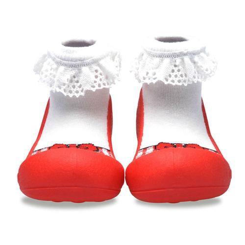 Attipas 快樂腳襪型學步鞋-芭蕾紅