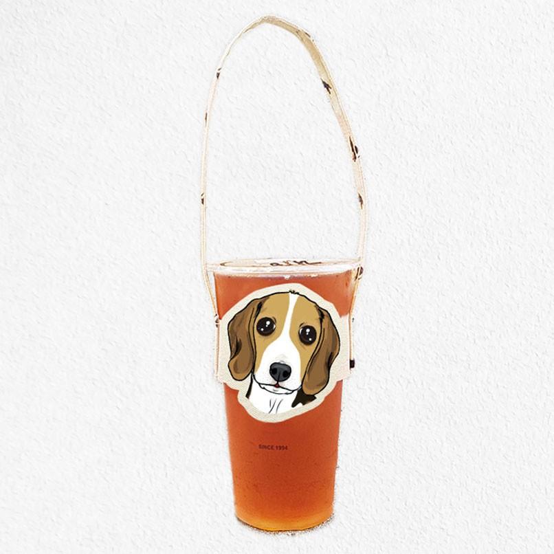 iShare愛現|米格魯 寵物造型隨行飲料杯套提袋  飲料杯袋