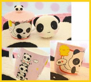 可愛牛奶杯熊貓杯帶蓋馬克杯早餐杯子水杯陶瓷杯保溫杯保溫瓶多啦A夢KITTY 台南市