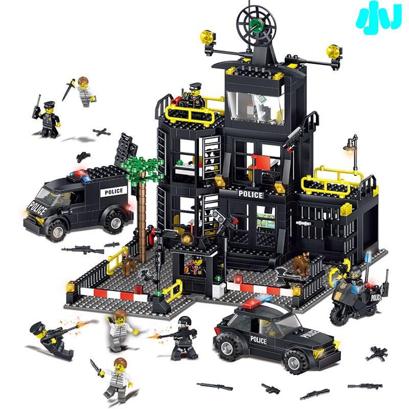 現貨城市警察系列積奇樂42017機變特警察局大樓警車小顆粒益智力兒童拼裝積木玩具兼容樂高🎊小J