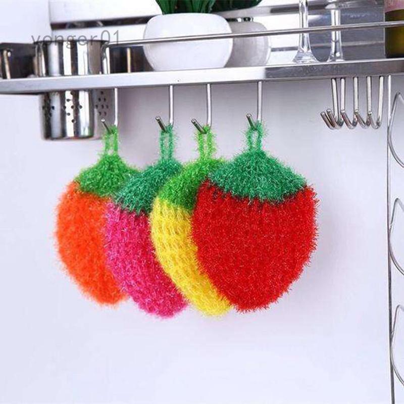 Yonger01 韓國亞克力洗碗巾 不粘油鉤花絲光草莓刷碗巾洗碗布