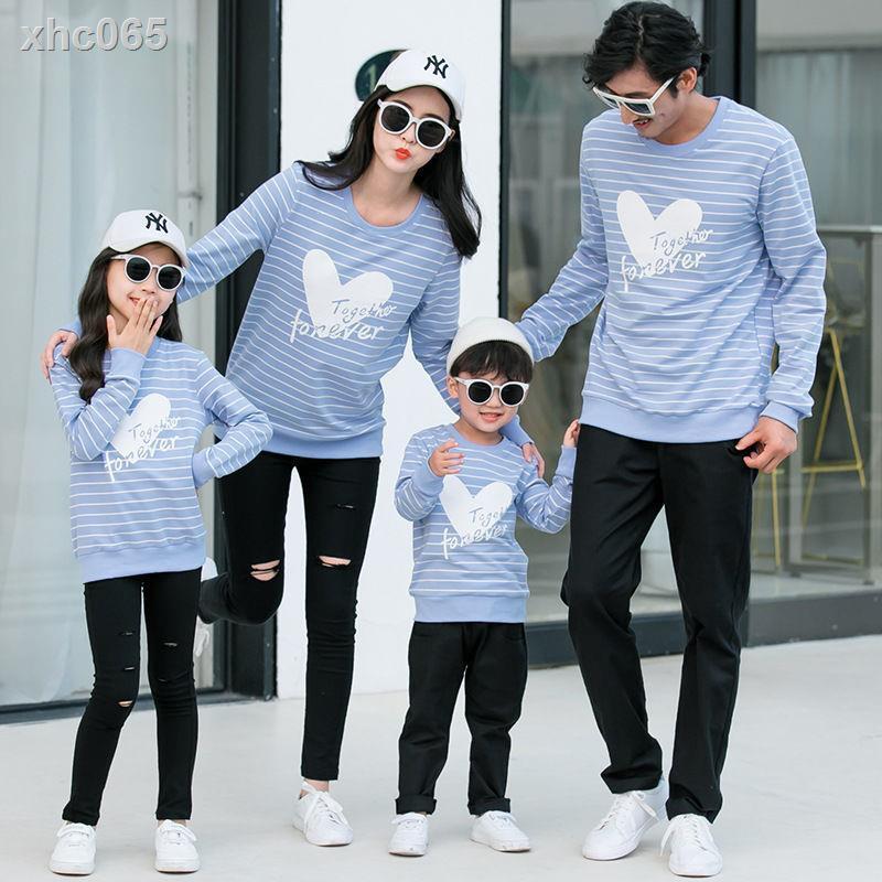 【現貨】❂◎✢親子裝秋冬新款母女裝母子家庭裝一家三口四口情侶條紋T恤套裝qzz