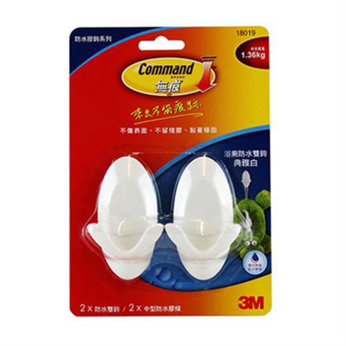 3M 無痕浴廁防水雙鉤 白(2支中型掛鉤+ 2片中型防水膠條)[大買家]