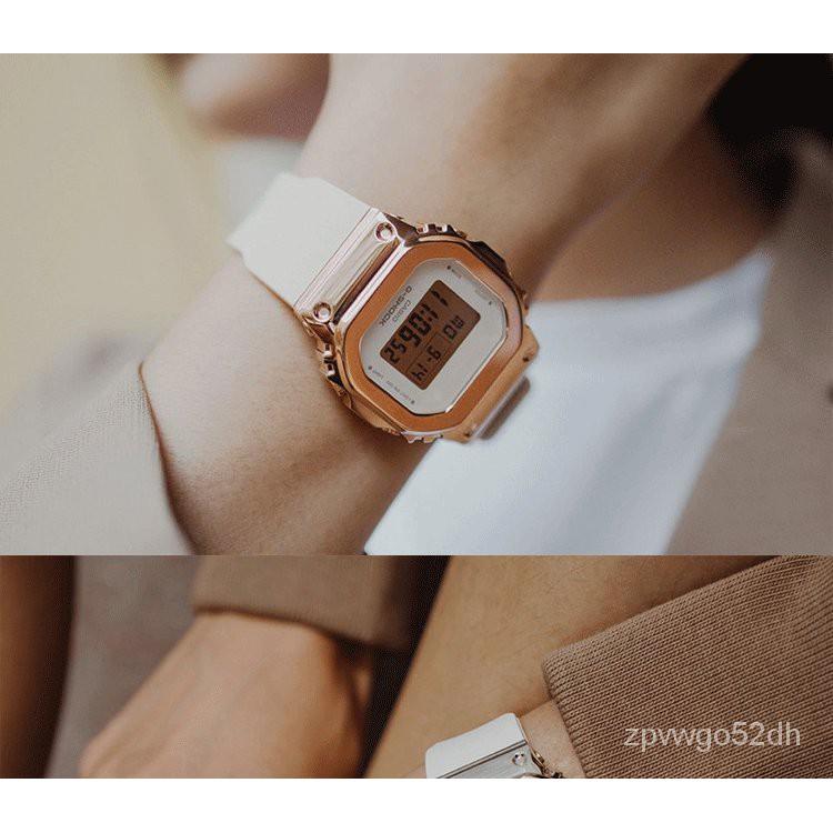 卡西歐復古金屬小方塊運動防水石英手錶女GM-S5600-1/S5600PG-4/1 BN2R