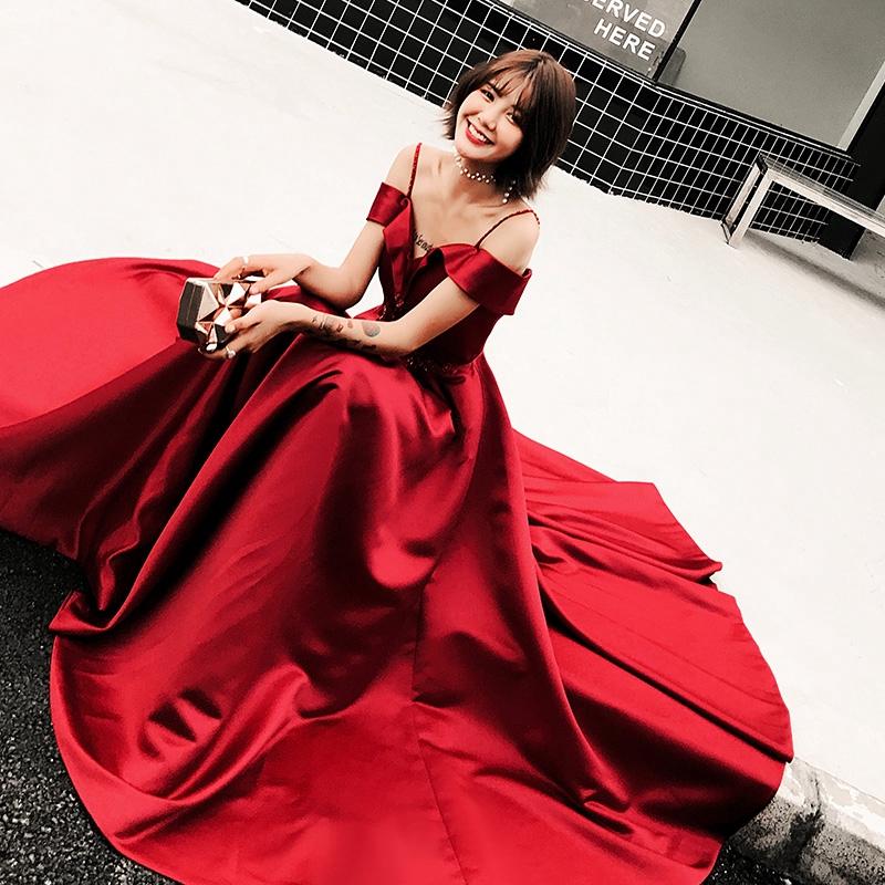 新品❤敬酒服新娘春款結婚新款紅色晚禮服女高貴長款顯瘦一字領氣質簡約大方尾牙春酒晚宴年會答謝宴派對生日洋裝畢業洋裝