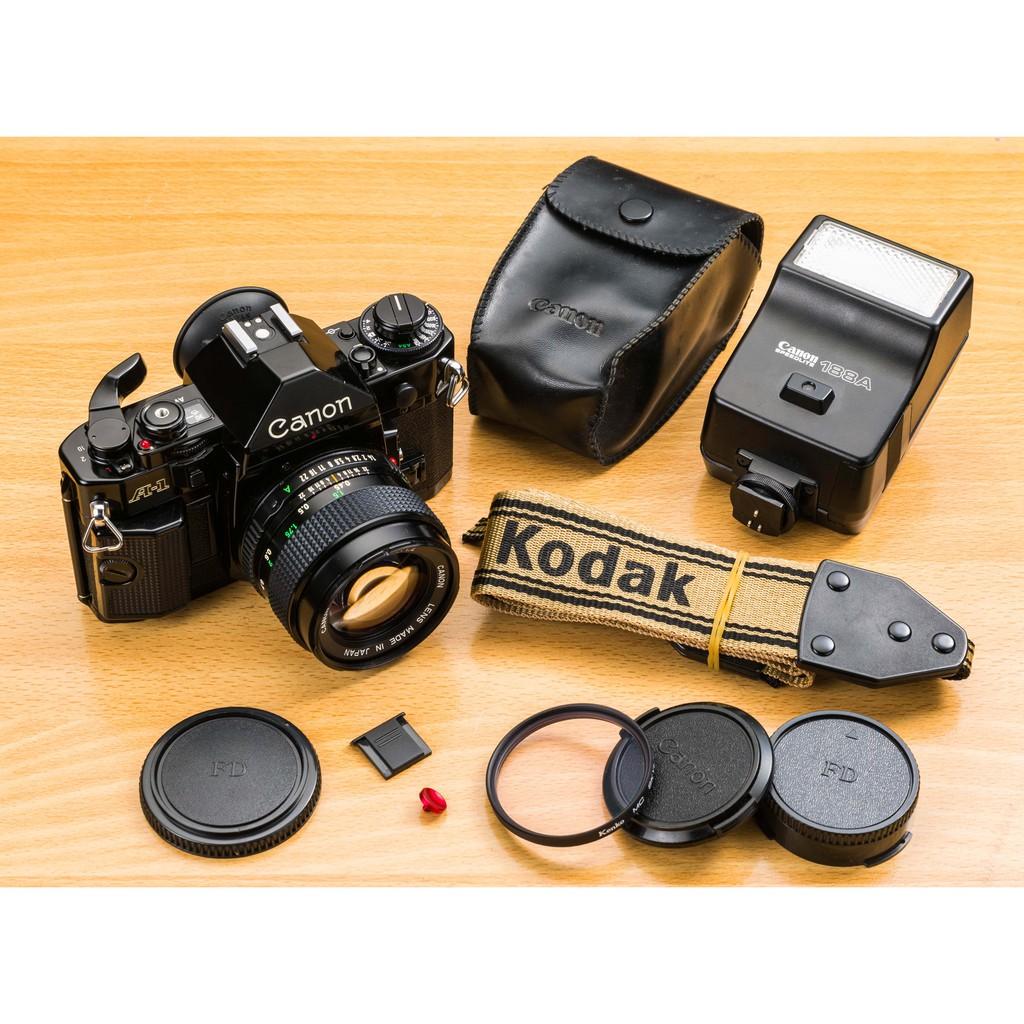二手新中古:經典收藏CANON A-1黑色+NFD 50mm F1.4+188A閃燈 準專業135底片機組 8.8成新