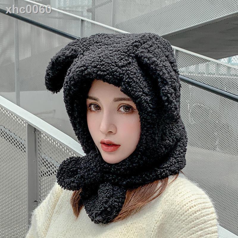 【現貨】會動的兔子耳朵帽子女秋冬季保暖甜美可愛圍巾一體冬天韓版潮護耳