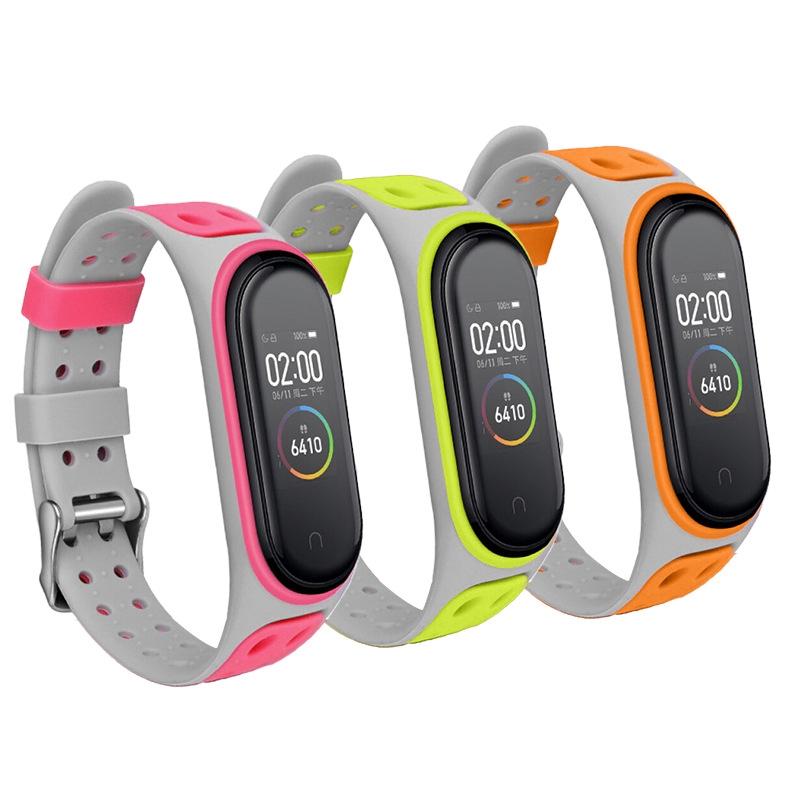 小米手環6錶帶 小米手環5標準版NFC版通用TPU雙色矽膠腕帶 矽膠錶帶 雙排孔錶帶 替換帶 小米運動手環錶帶