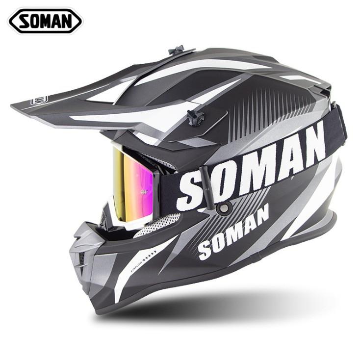 透氣 全罩安全帽 SOMAN633 機車越野帽 配越野護目鏡  國際安全雙認證